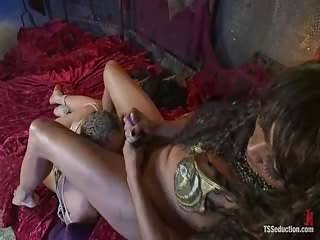 Horny tranny with her bondage man
