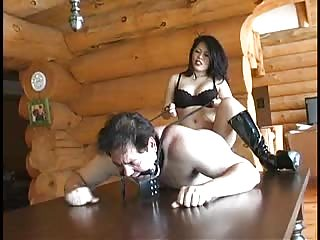 Mistress strapon on slaves tight anal