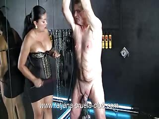 Busty domme humiliating old man