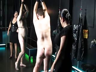 Whipping a nude male slave