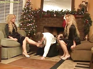Cruel blonde twins with one slave