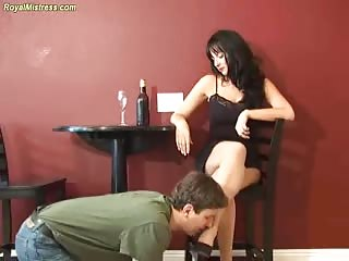 Forced foot worshiping domination