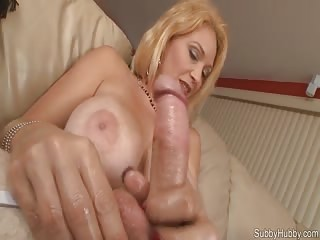 Sultry blonde step mom playing step son's dick