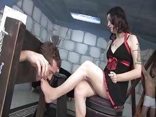 Restrained foot worshiper
