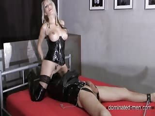 Pussy eater latex trapped slave