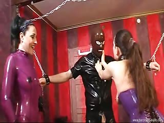 Baroness Bijou uses her friend to tease tied slave