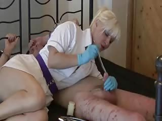 Worthless cock tortured by his blonde cruel domme