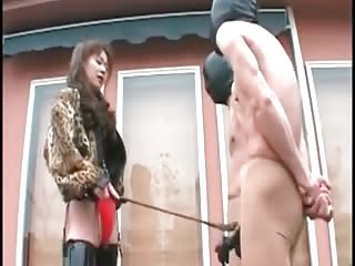 Ball busting mistress punishing slaves