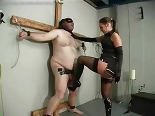 Crucified fat slave cock and balls tormented