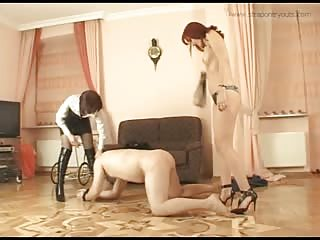 Experienced mistress teaching an amateur domme