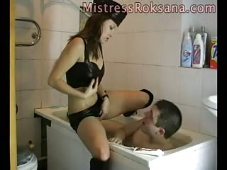 Cruel domination to loser BF in the bath tub