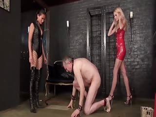 Old pathetic slave tortured in ball busting