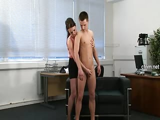 Young stud abused by clothed MILF