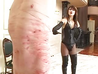 Wicked Asian lady relentless whipping