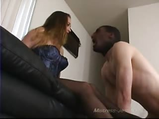 Kinky vicious mistress humiliating slave for her enjoyment