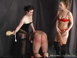 Wicked mistresses punishing slaves ass