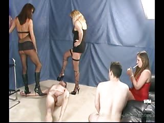 Pathetic slave degraded by three mistresses