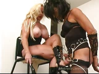 Muscled busty mistress with her feminized slave