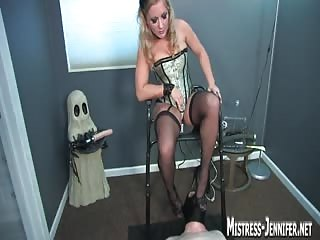 Weak slave as puppet for mistress pleasure