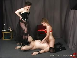 Smother slave of two vicious mistress