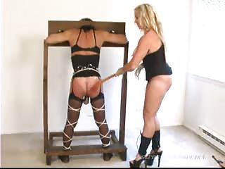 Restrained slave ass spanked severely