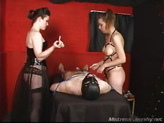 Mistress Noelle and Sarah tormenting loser one