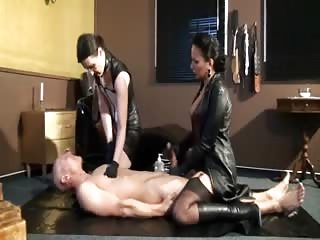 He eats spits while his cock is milked