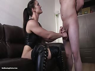Mistress in black boots dominating