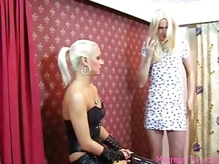 Fetish blonde and her feminized slave