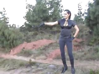 Shameless whipping punishment outdoors