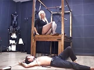Obedient foot slave in the dungeon