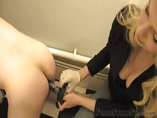 Strapon femdom slave fucked in the toilet