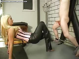 Sadistic blonde babe do a brutal ball busting