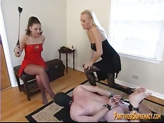 Nude bounded foot worshiper