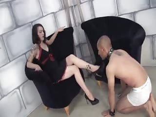 Slave get whipped before he worship mistress feet