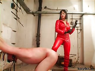 Lady in red brutal domination