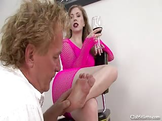 Mistress T with an old man foot worshiper