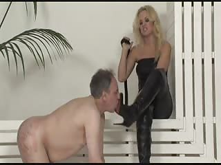 Rude blonde foot domina