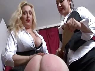 Poor slaves ass get double spanked