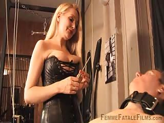 Strapon lesson to a bondage slave