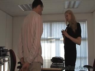 Punished by his blonde femdom boss