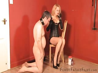 Dazzling blonde femdom MILF enjoy with her old man slave