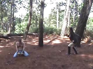 Half naked man whip in the woods