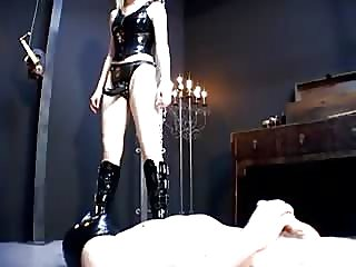 Vicious mistress pegging poor slave boy