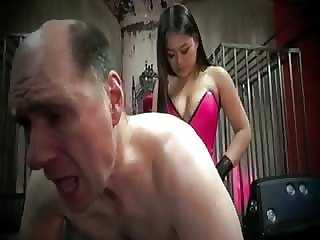 Evil Asian mistress pegging white man