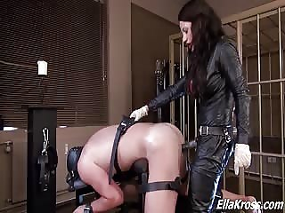 Brutal fucking ass with mistress strapon and fist