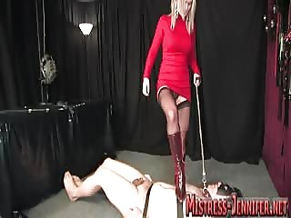 Bondage male slave anal drilled with mistress strapon