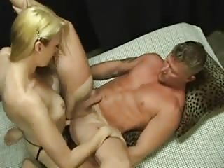 Filthy blonde with strapon fucks dude\'s ass