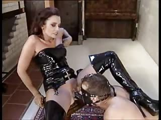 Latex mistress strapon ass fucked slave