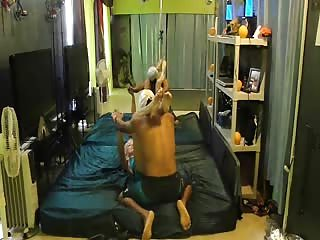 Mixed wrestling on the bed